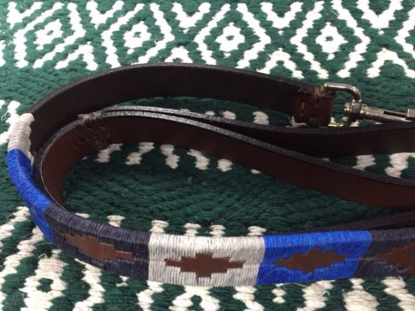 Argentine Hand Embroidered Dog Lead Blue/Silver/Navy